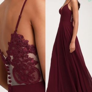 Lulus Romantic Ways Burgundy Lace Maxi Dress